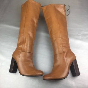 Maxgreat  tan leather knee high boots stacked heel